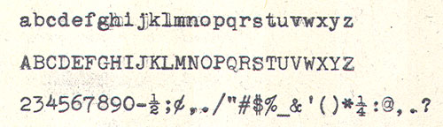 Type sample from 1956 Smith-Corona Skyriter