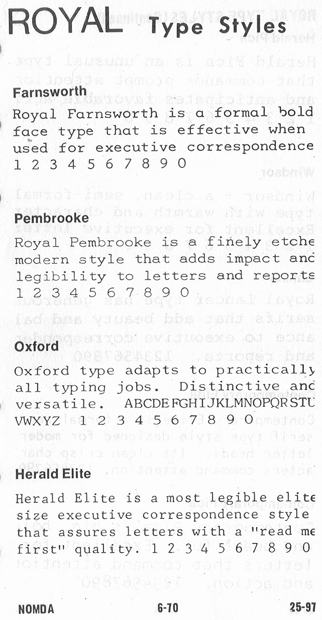 1964 NOMDA Blue Book: Royal Font Styles | To Type, Shoot
