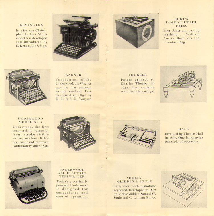 History of the Typewriter15 The History of the Typewriter (Underwood Corp, 1950)