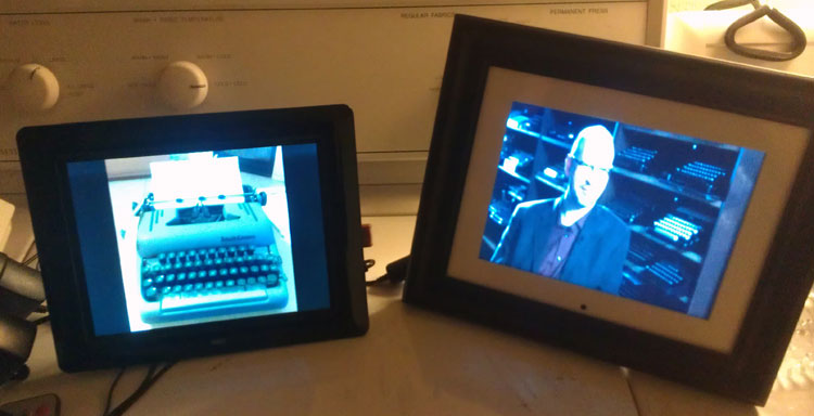 Cheap digital photo frames can be used for multimedia presentations of typewriter-related videos, news interviews and photos of your collection. If you can't bring your whole collection to the type-in, at least bring pics! (: