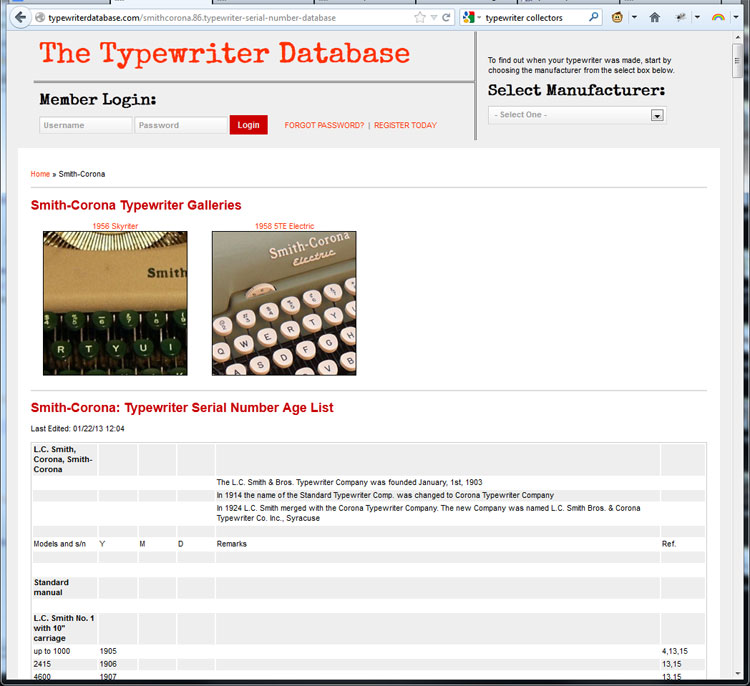 tw db x1 Typewriter Database: Weekend Update!
