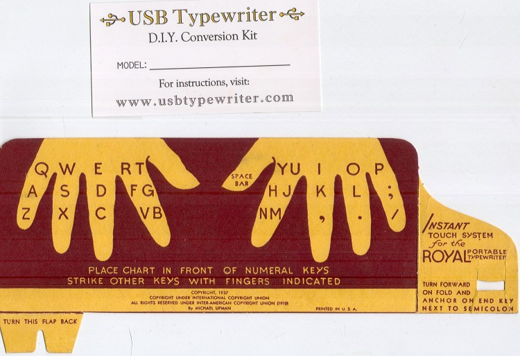 The USB Typwriter guy gave away this neat Royal finger placement guide on his Facebook page. Tori claimed dibs and it came in the mail today. Thanks, Mr USB Typewriter guy! (: