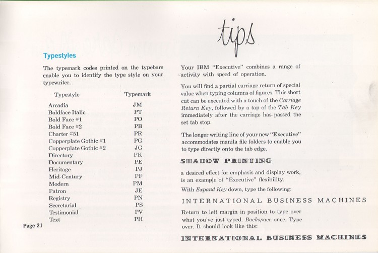 IBM Executive man page 21 750x502 IBM Executive Typewriter Operators Manual   1950s