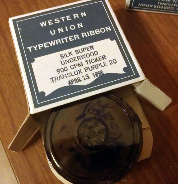 An ebay find, 3 silk purple ribbons on metal spools, made in 1966 and still sealed. Yes, I opened one, yes I put it in a typewriter. It works, sort of.