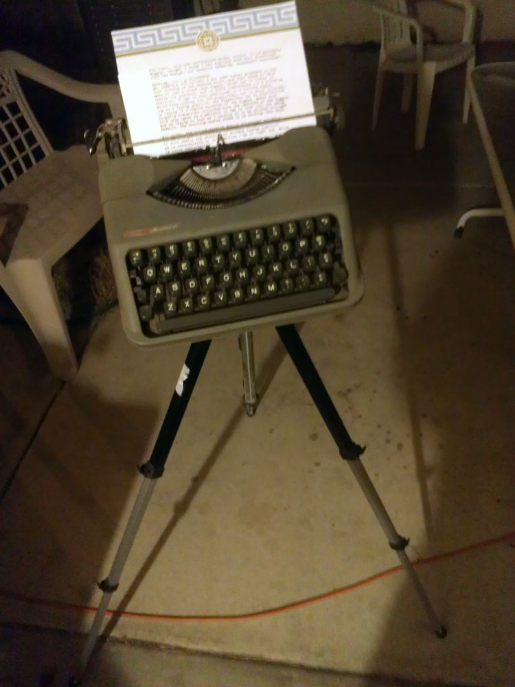 IMAG0815 Tripod Mounted Empire Aristocrat Field Typewriter
