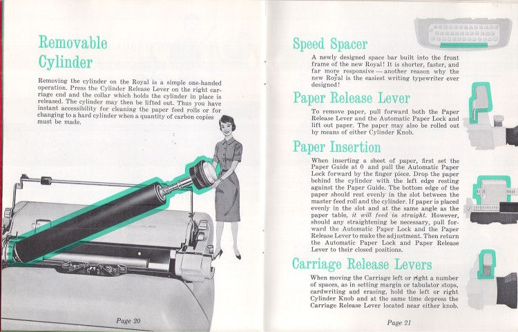 royal empress 13 750x481 Royal Empress Typewriter Owners Manual, 1961