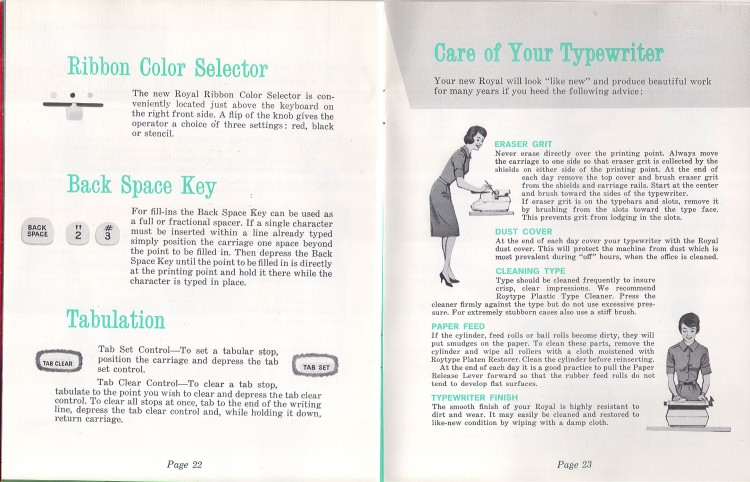 royal empress 14 750x482 Royal Empress Typewriter Owners Manual, 1961
