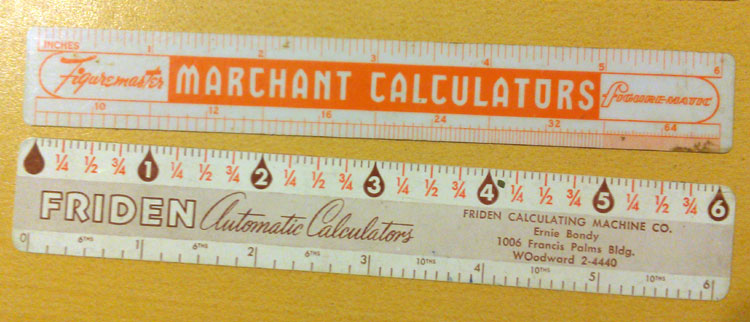 I've talked about the Marchant Figuremaster before, and here's a ruler promoting the machine with a 1958 calendar on the reverse side. The Friden one has Decimal Equivalents, Reciprocals, and other handy calculating tables on the reverse. This stash of supplies probably came from the office of a retired engineer.