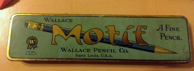 This fantastic art-deco metal pencil case that originally held some fine Wallace Motif pencils...