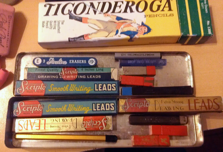 ...now holds over a dozen tiny boxes full of mechanical pencil leads in various colors and sizes.