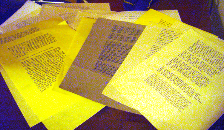 Bad photo in the darkness of the stack of typecasts I have yet to scan in. This is what I've written in just the past month or so, and never got posted...