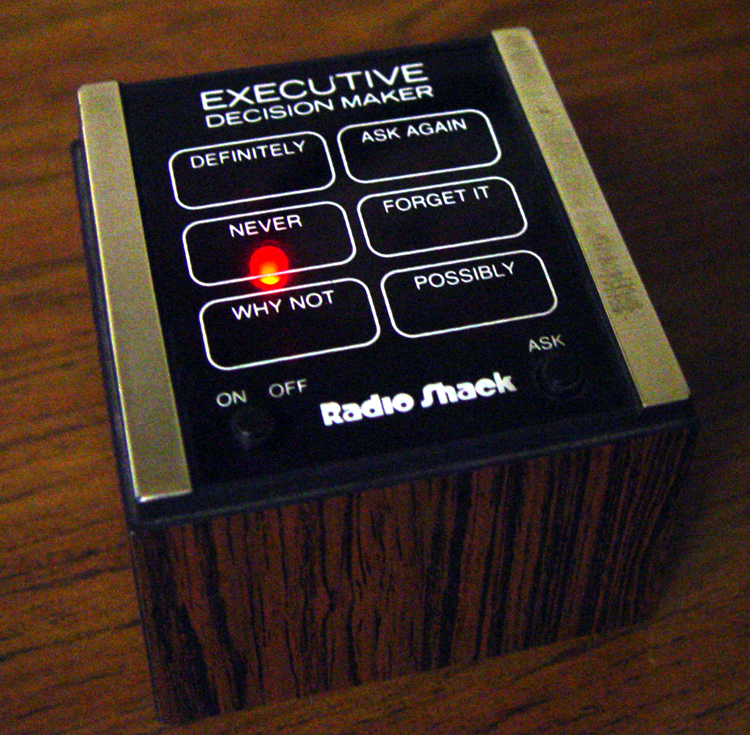 "What I did get yesterday was this Radio Shack ""Executive Decision Maker"" for $1. Luckily I did not consult it for advice on whether I should be adopting more typewriters."