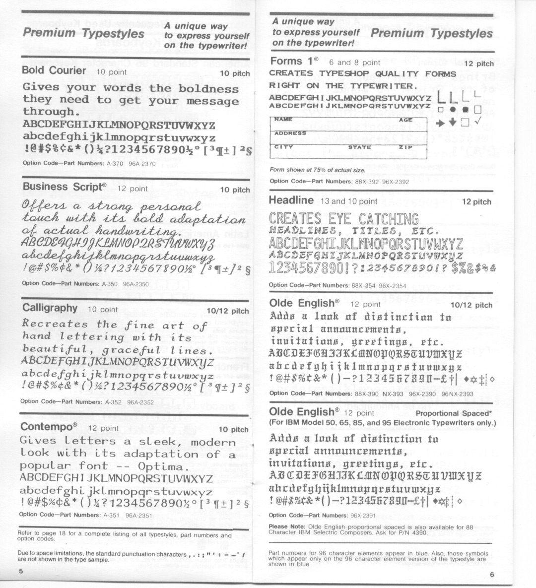 GP IBM Selectric Typeball Catalog – Font Styles   To Type