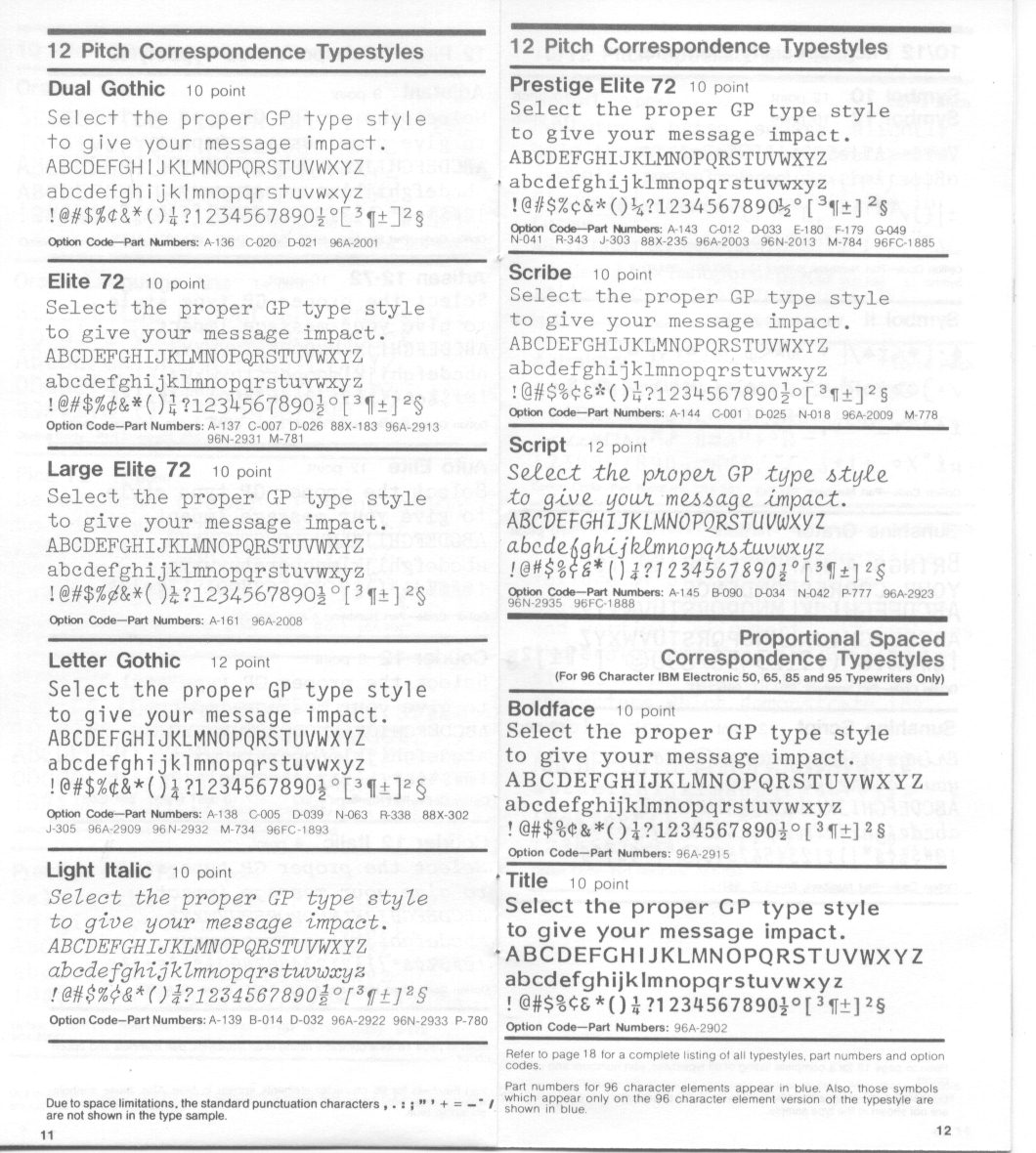 Gp Ibm Selectric Typeball Catalog  Font Styles  To Type Shoot