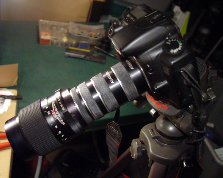 Vintage Vivitar 135mm prime backed with all 4 Asanuma macro tubes. It's M42 mount week!