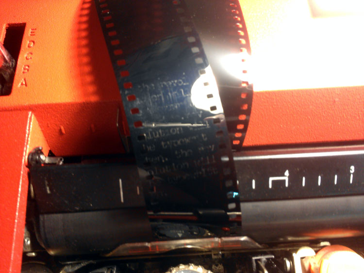 Typing on film with a carbon ribbon doesn't work well. The carbon just wipes off.