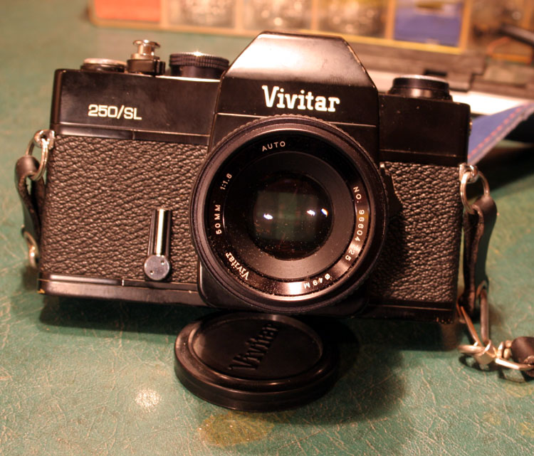 "Vivitar 250/SL, made by Cosina around 1976. This is the ""Truck Camera"", and it came to me loaded with a half-exposed roll of film. Still working on finishing that roll."