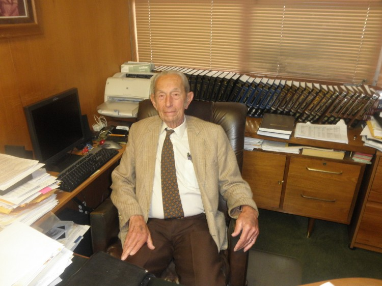 The Reverend Harold Camping, RIP. Not a typewriter man, judging by his office.