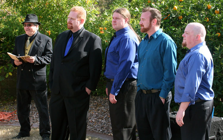 The Groomsmen, the Groom, and me - your humble officiant.