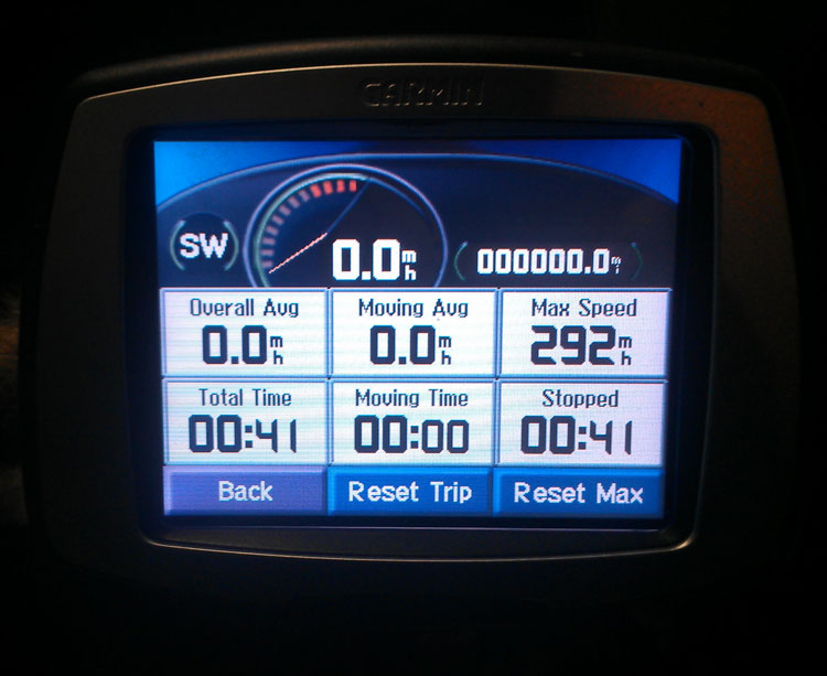"While clearing out the previous owner's saved addresses, routes and destinations (heh, be sure to factory-reset your GPS before donating it to a thrift store), I had to save the unit's ""Max Speed Driven"" record, just because it's awesome. Someone really had the pedal to the metal during that last trip!"