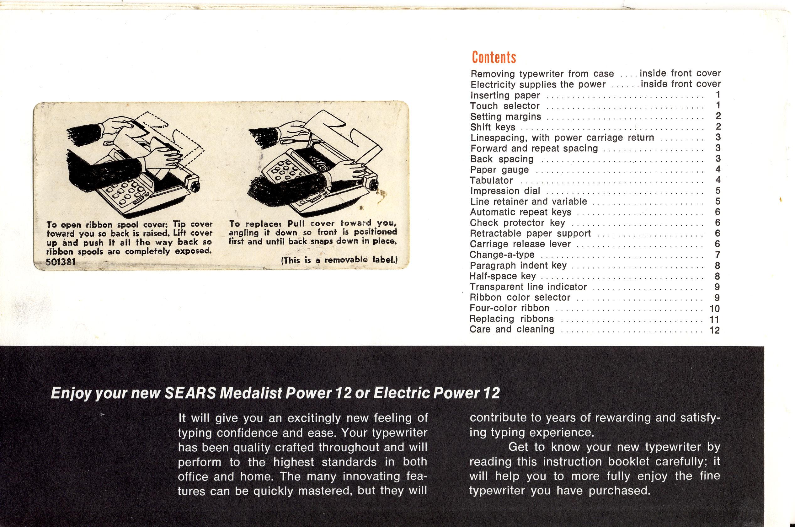 Sears Medalist And Electric Power 12  U2013 Owner U0026 39 S Manual  U2013 1968