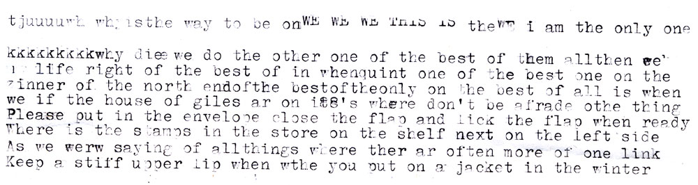 This odd typecast missive was included with the Corsair 710. No idea if it was written by the machine's original owner or some thrift shopping passerby.