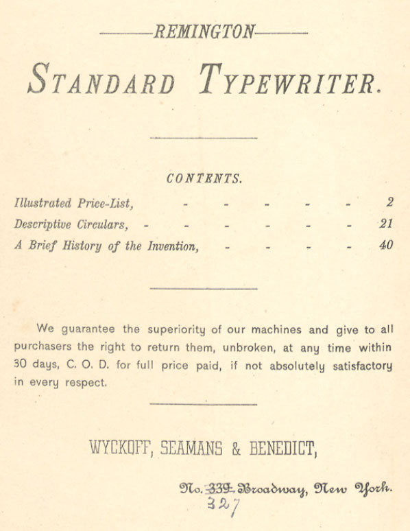 wsb 001 Wyckoff, Seamans & Benedict pull out the stops to sell you a Remington. The Year? 1884