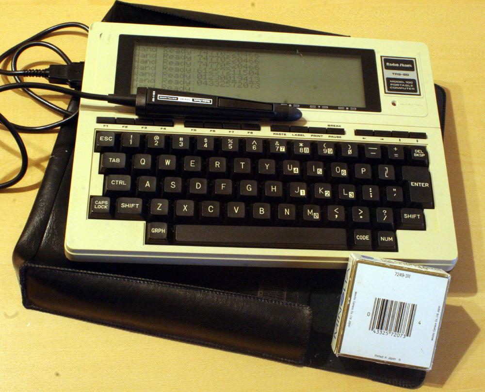 1983 TRS-80 Model 100 test-scanning some UPC barcodes...