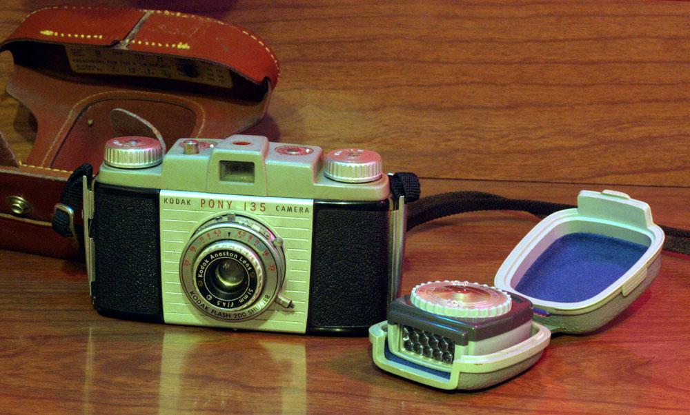 Grandad's Kodak Pony 135 and a Gossen Pilot light meter (The Pony has *no* light metering)