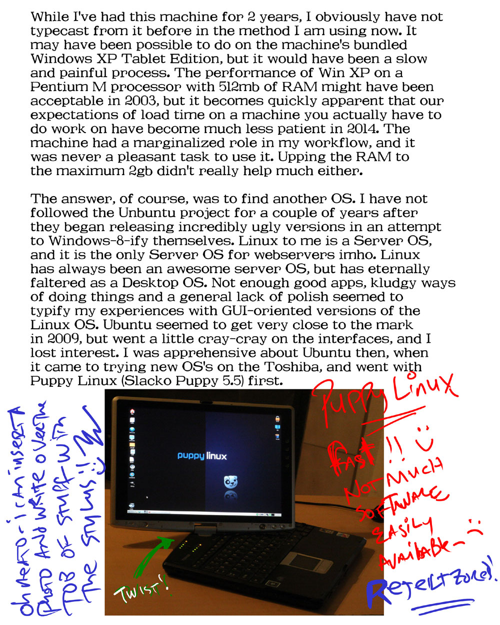 2014 09 18 b Paleocomputing: A Linux suitable for an old stylus tablet laptop