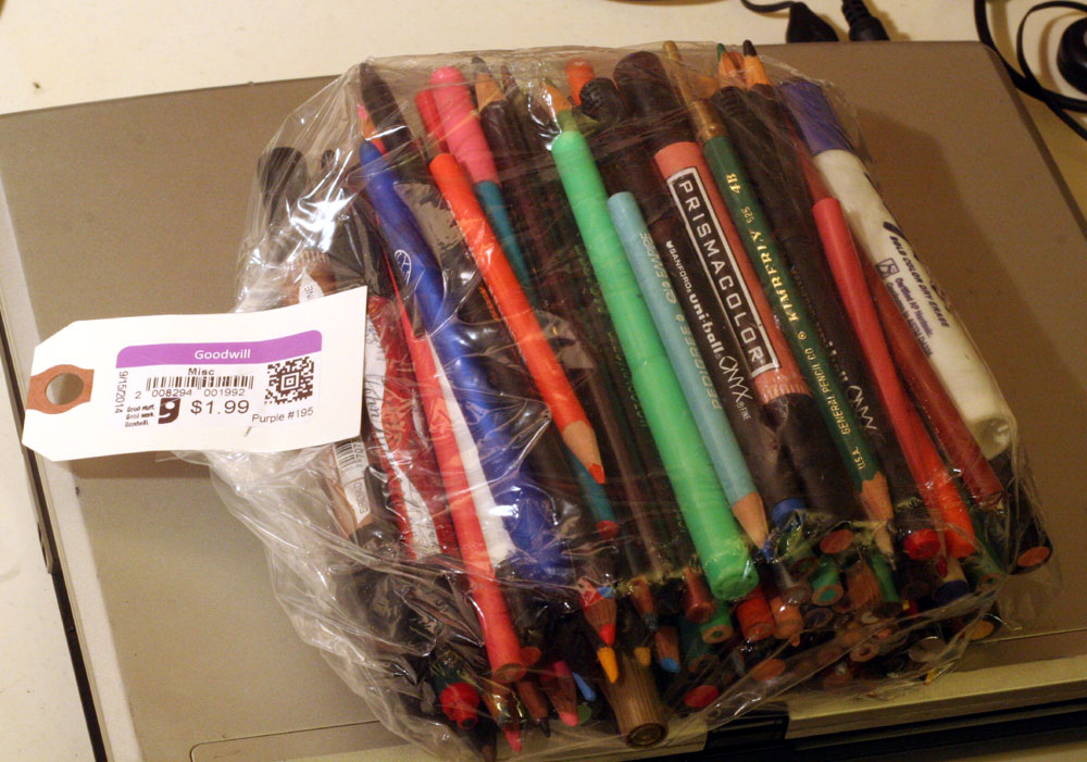 The Buck-Ninety-Nine Bag-O-Pens & Pencils (many neat colored sketching pencils, ended up comprising nearly two whole sets of different brands)