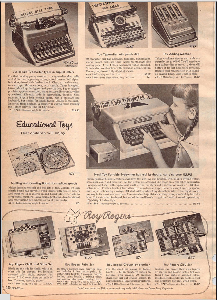 1957 sears ccat 1 Toy Typewriters from Sears, JC Penny, Montgomery Wards, Aldens and Eatons Christmas Catalogs: 1957 1983