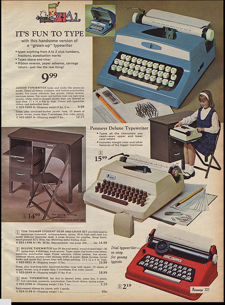 1966 JCP ccat 2 Toy Typewriters from Sears, JC Penny, Montgomery Wards, Aldens and Eatons Christmas Catalogs: 1957 1983