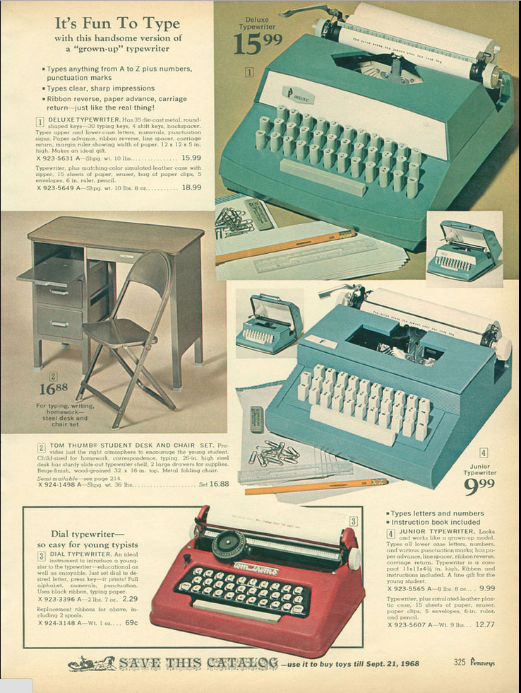 1967 JCP ccat 1 Toy Typewriters from Sears, JC Penny, Montgomery Wards, Aldens and Eatons Christmas Catalogs: 1957 1983