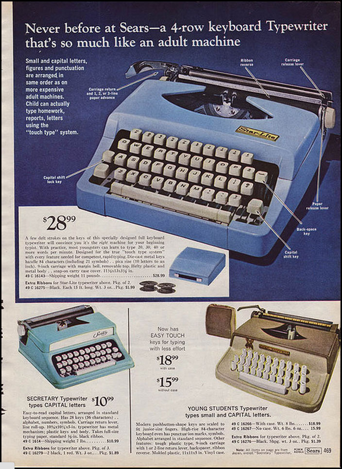 1969 sears ccat 2 Toy Typewriters from Sears, JC Penny, Montgomery Wards, Aldens and Eatons Christmas Catalogs: 1957 1983