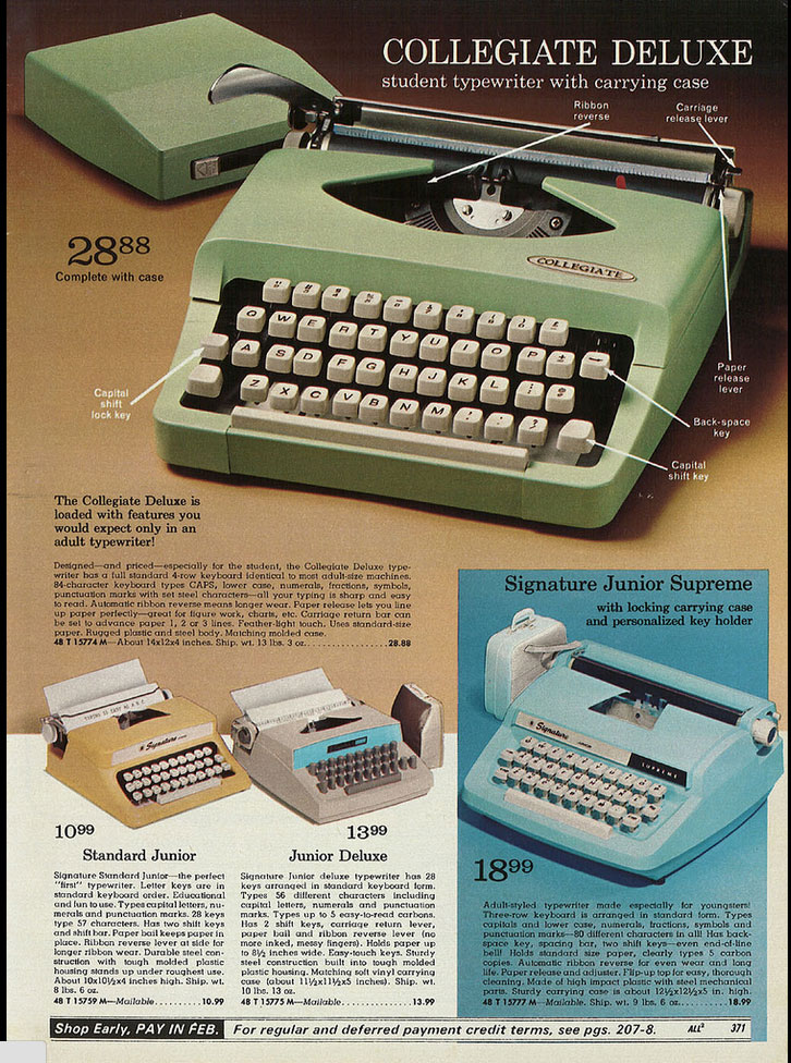 1970 MW ccat 1 Toy Typewriters from Sears, JC Penny, Montgomery Wards, Aldens and Eatons Christmas Catalogs: 1957 1983