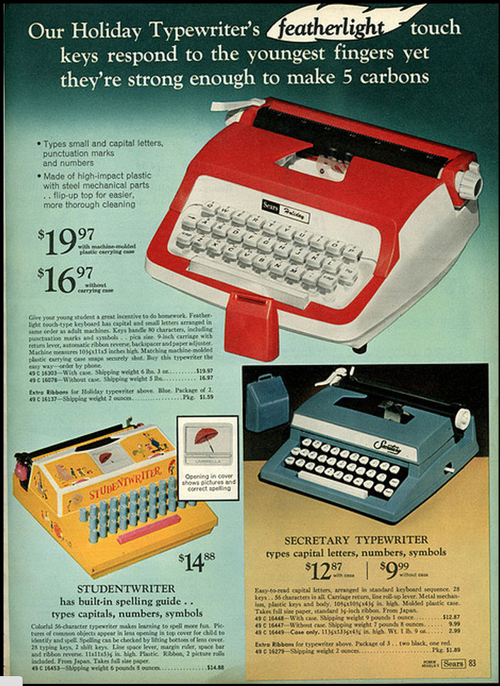 1971 sears ccat 1 Toy Typewriters from Sears, JC Penny, Montgomery Wards, Aldens and Eatons Christmas Catalogs: 1957 1983
