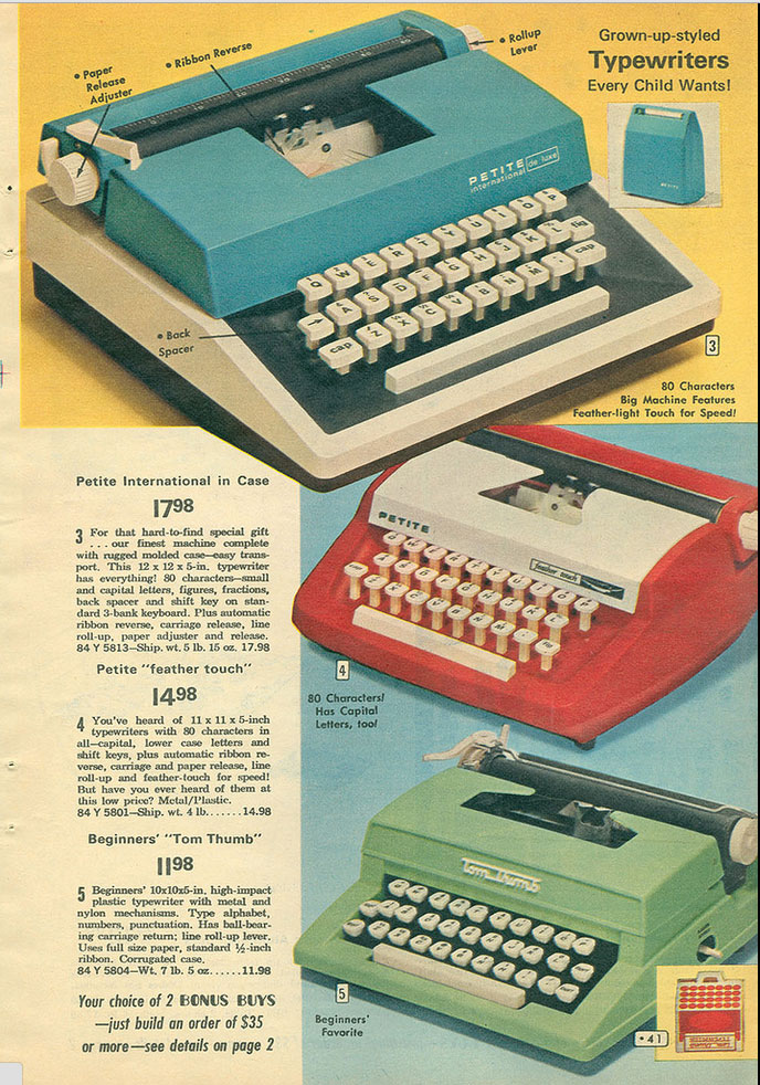 1972 aldens ccat 1 Toy Typewriters from Sears, JC Penny, Montgomery Wards, Aldens and Eatons Christmas Catalogs: 1957 1983