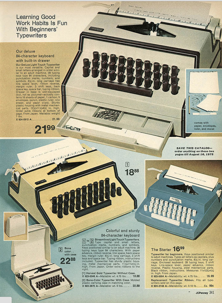 1974 jcpenny ccat 1 Toy Typewriters from Sears, JC Penny, Montgomery Wards, Aldens and Eatons Christmas Catalogs: 1957 1983