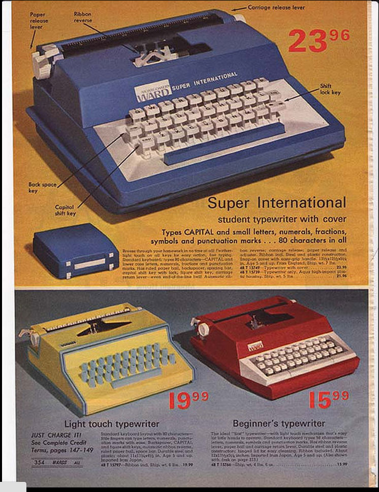 1975 MW ccatalog 2 Toy Typewriters from Sears, JC Penny, Montgomery Wards, Aldens and Eatons Christmas Catalogs: 1957 1983