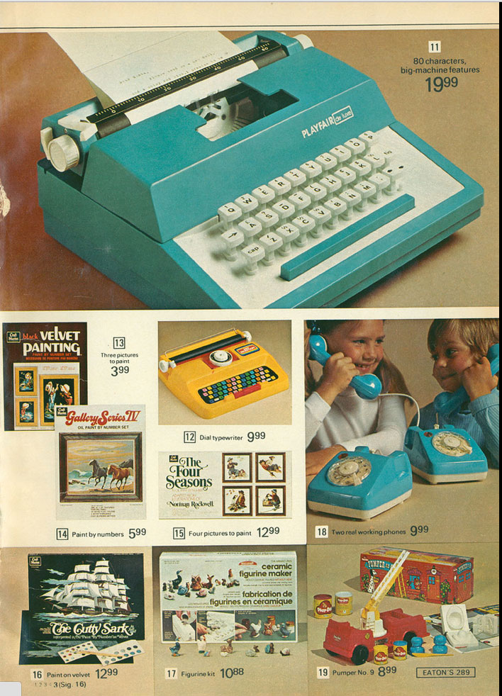 1975 eatons ccat 1 Toy Typewriters from Sears, JC Penny, Montgomery Wards, Aldens and Eatons Christmas Catalogs: 1957 1983