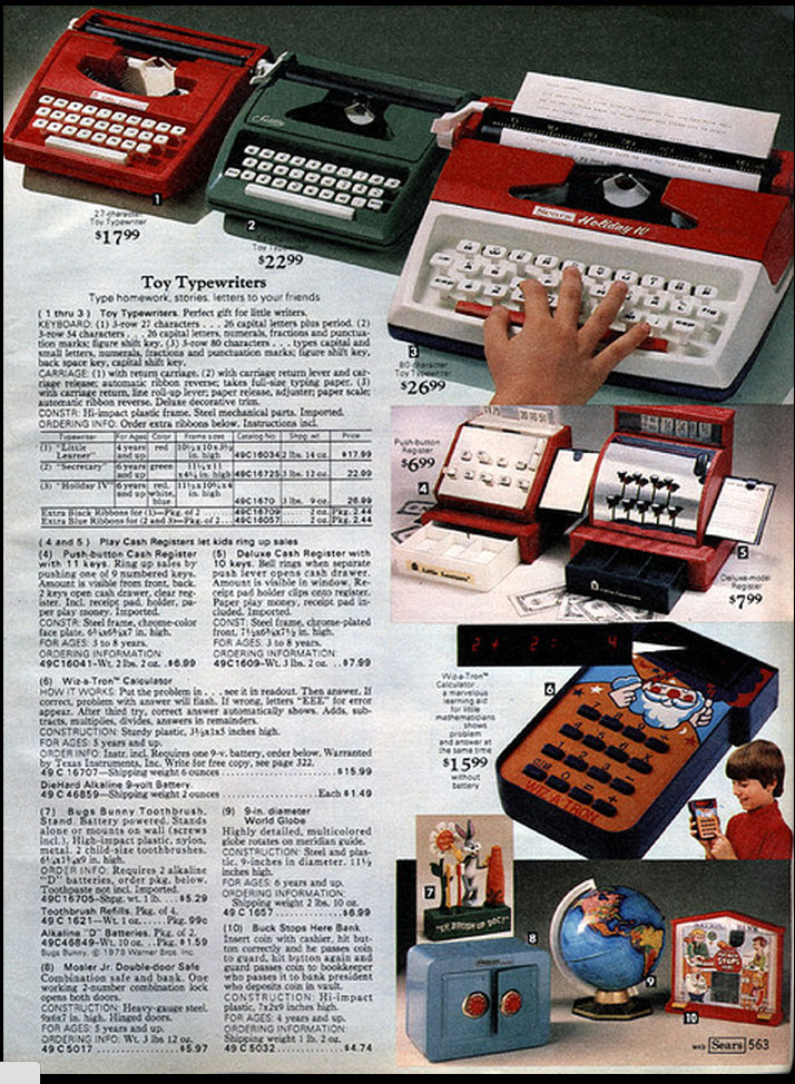 1979 sears ccat 1 Toy Typewriters from Sears, JC Penny, Montgomery Wards, Aldens and Eatons Christmas Catalogs: 1957 1983