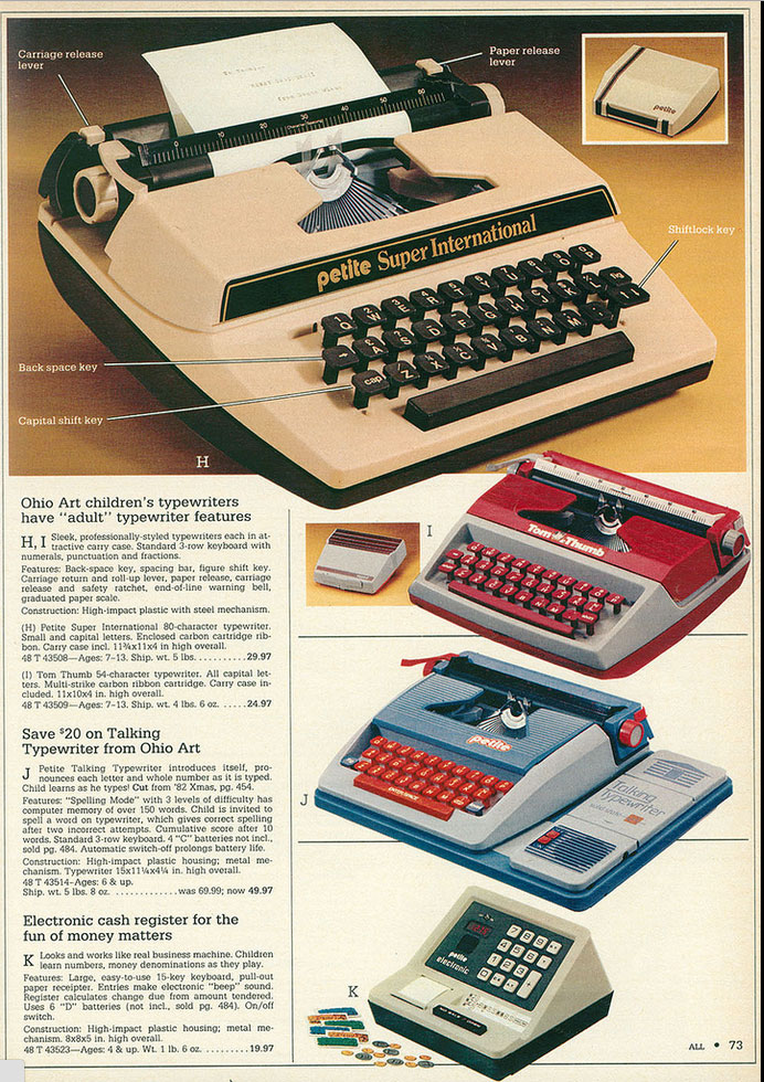 1983 MW catalog toys 5 Toy Typewriters from Sears, JC Penny, Montgomery Wards, Aldens and Eatons Christmas Catalogs: 1957 1983