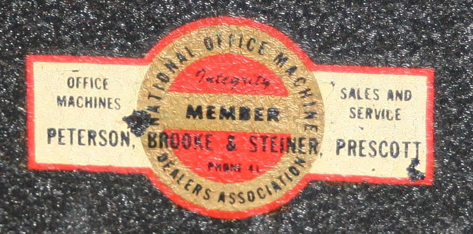NOMDA Dealer Peterson Brooke & Steiner in Prescott - Nice sticker probably applied in 1963 when the machine had it's last major overhaul.