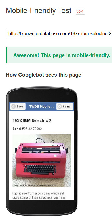 TWDB, now Googlebot-approved for mobile-friendliness!
