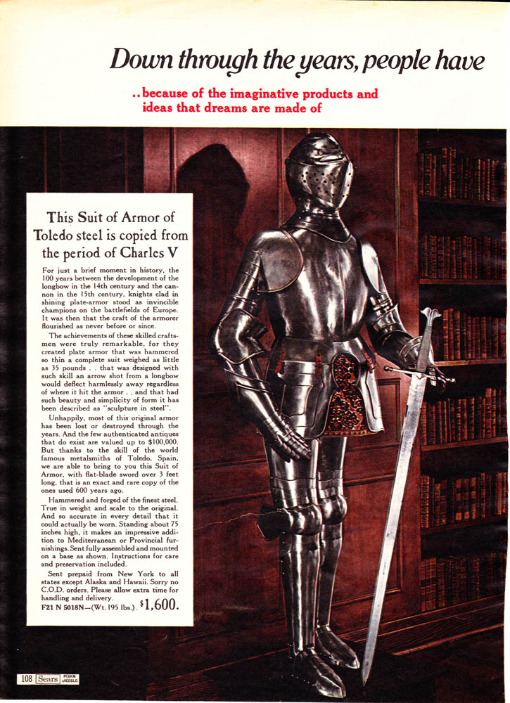 Ahh, 1968, when you could buy someone a Charles V suit of armor for Christmas at Sears. :D