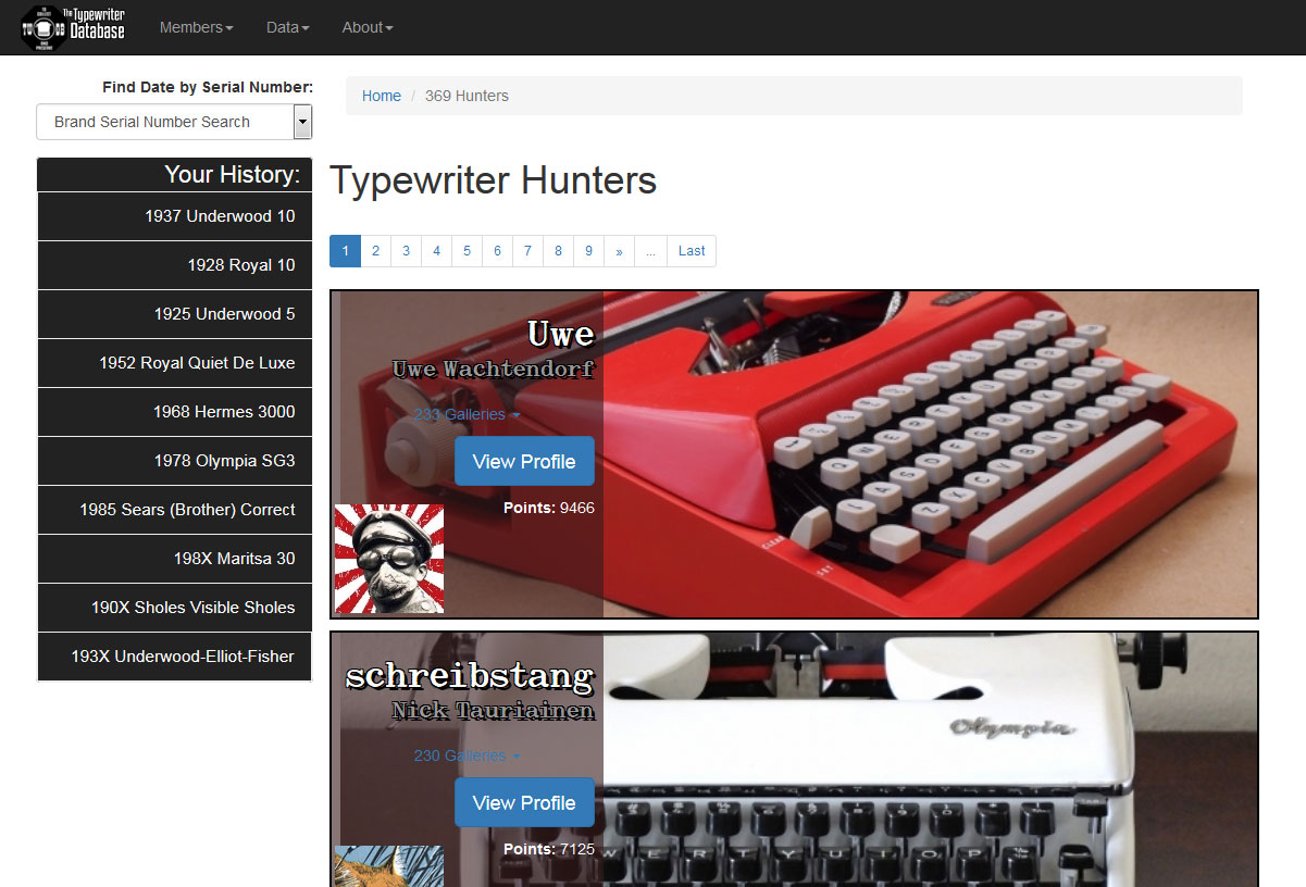 """TPV of the TWDB Delta Hunter's Page. A random selection is made from the Hunter's galleries for each pageload, instead of the old """"6 oldest machines"""" thing."""