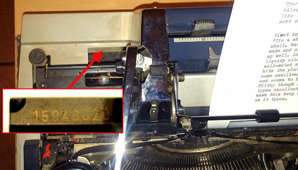 Serial number location on Adler J5 Typewriter