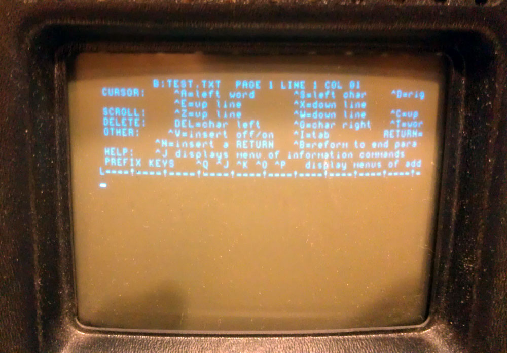 Wordstar! Hey, I figured out how to start a new textfile on the B: drive (: