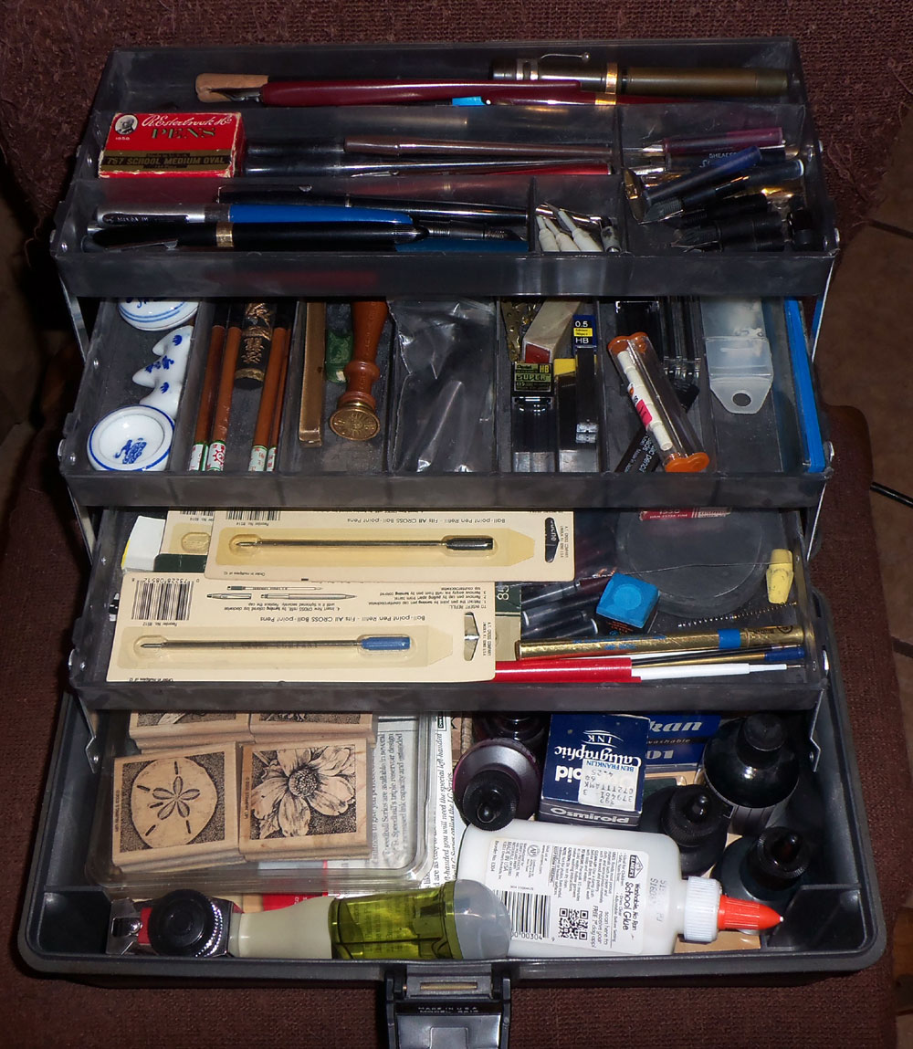 "The ""Pen Box"", where I keep all of the weird pen/pencil odds & ends I find in thrift store pen bags..."